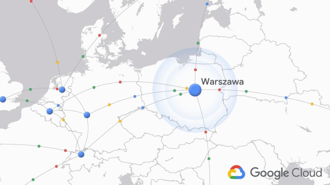Region Google Cloud Warszawa - Polska (mapa)