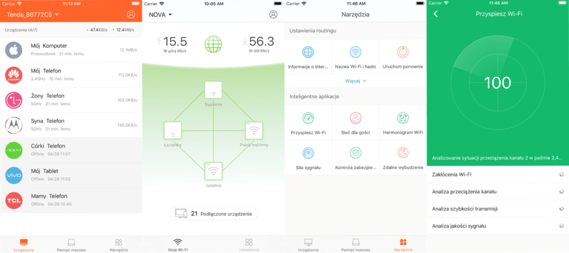Screen z aplikacji Tenda WiFi