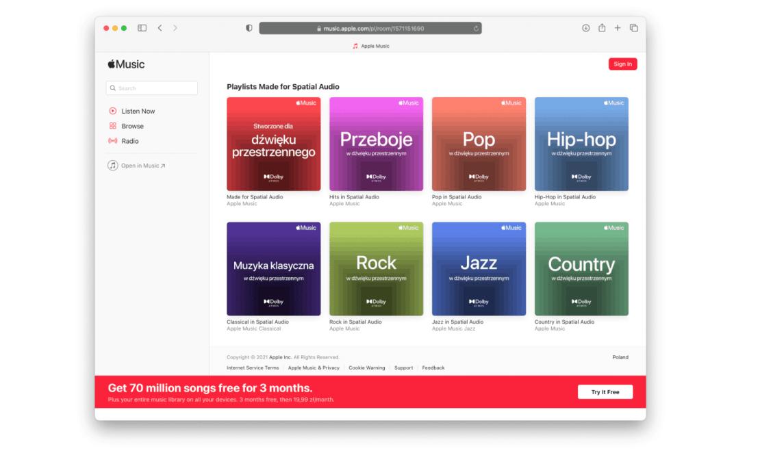 Playlisty w dźwięku przestrzennym (Spacial Audio) w Apple Music