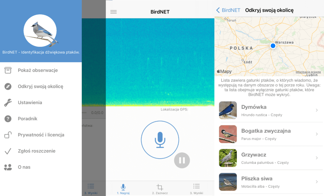 Zrzuty ekranów z aplikacji mobilnej BirdNET