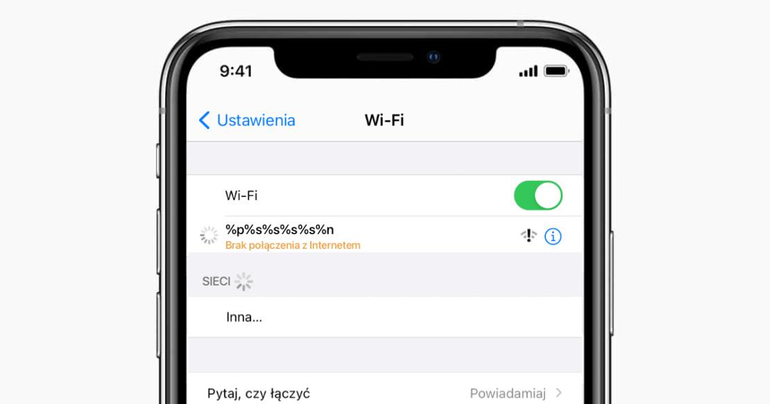 Błąd związany z nazwą Wi-Fi na iPhonie