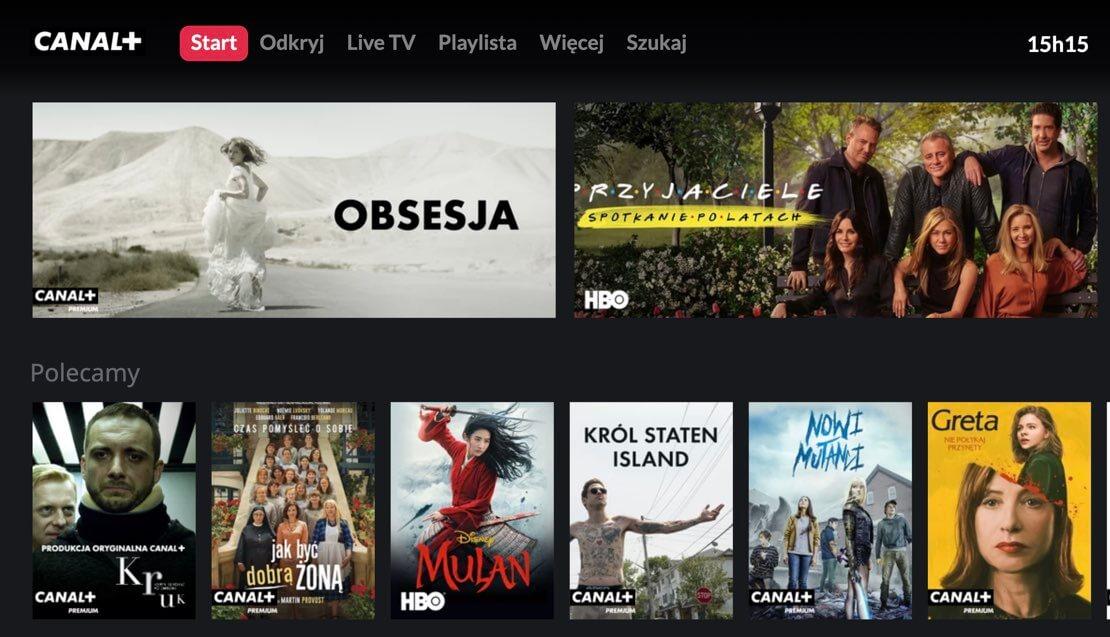 Zrzut ekranu z aplikacji CANAL+ online na Smart TV (Samsung)