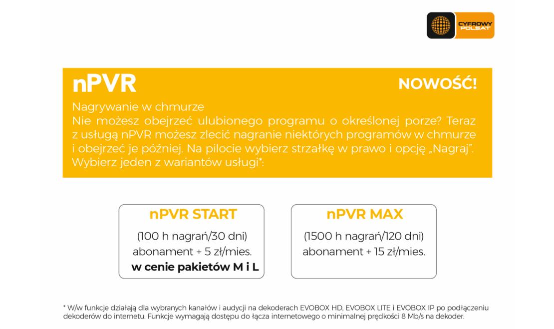 Usługa nPVR (nagrywanie w chmurze) w Cyfrowym Polsacie