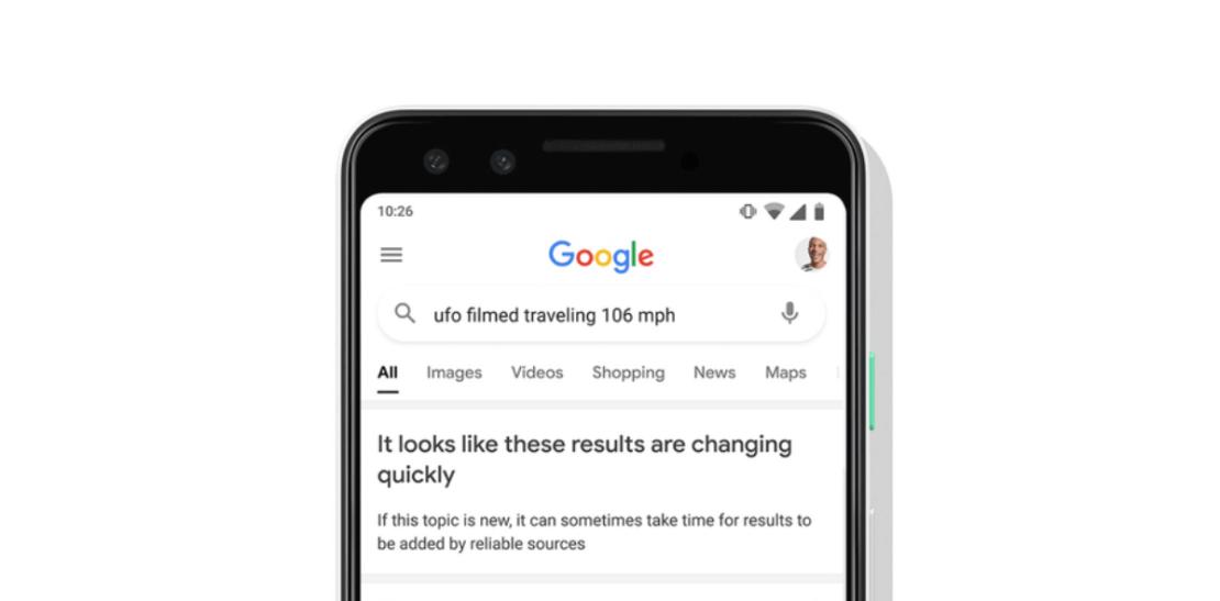 Ostrzeżenie Google o wiarygodności wyników wyszukiwania