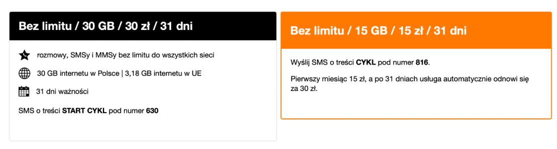 Orange - pakiety bez limitu na kartę (stan na czerwiec 2021)