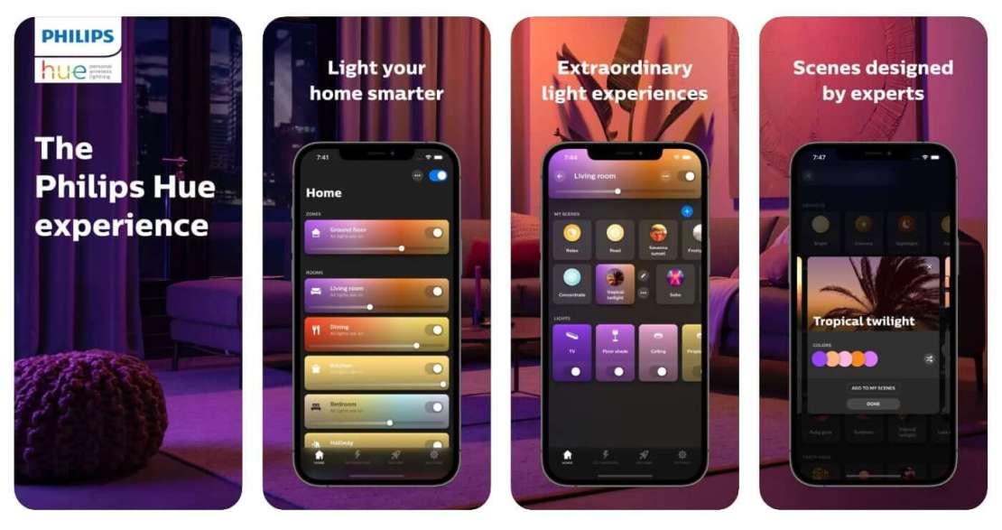Zrzuty ekranów z aplikacji Philips Hue