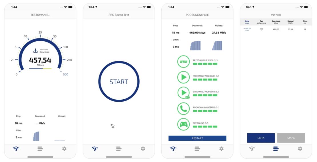 PRO Speed Test - zrzut ekranów z aplikacji