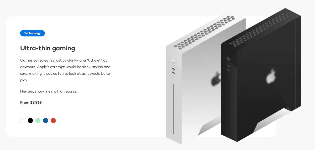 Koncepcja ultracienkich konsoli do gier, gdyby były produkowane przez Apple'a