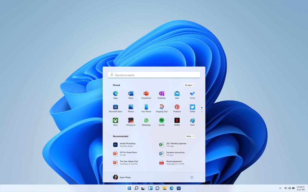 Menu Start pod Windowsem 11