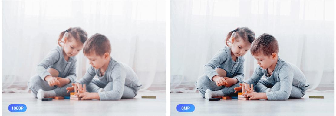Obraz 1080p (po lewej), obraz  3Mpx (po prawej)