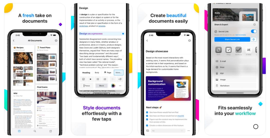 Zrzuty ekranów z aplikacji Craft – Docs and Notes Editor