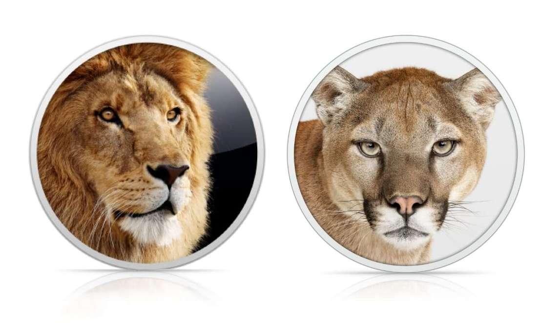 Ikony systemów Mac OS X Lion i Mountain Lion