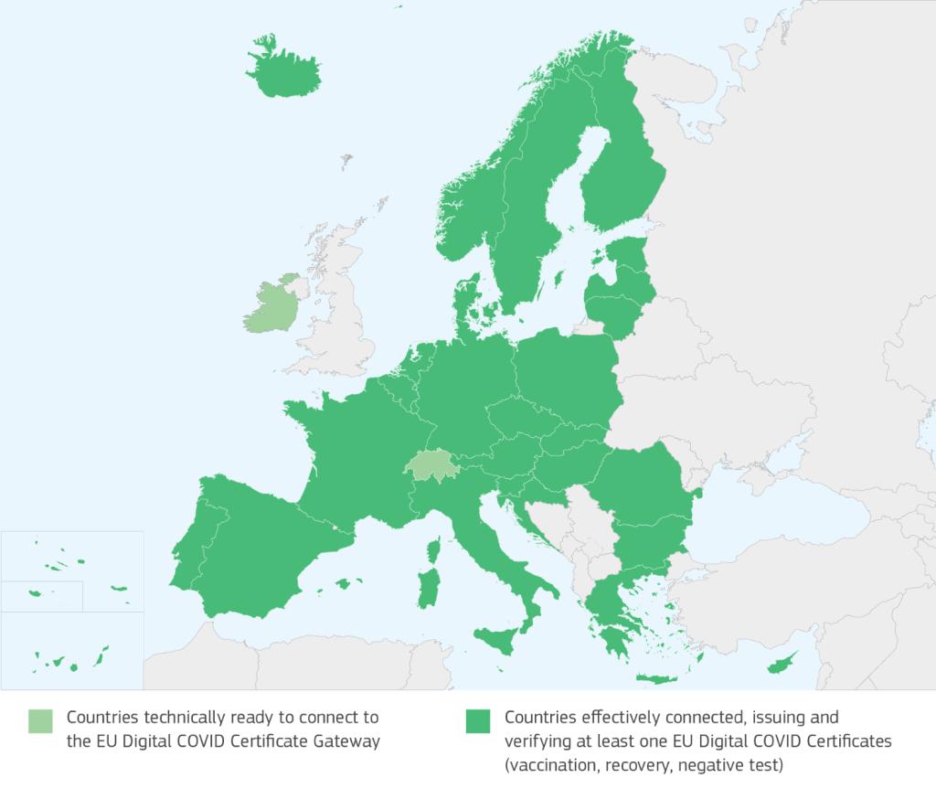 Mapa krajów, w których działa Unijny Certyfikat COVID (Digital COVID Certyficate)