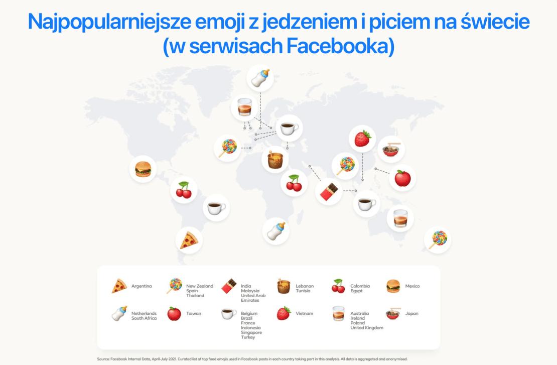 Najpopularniejsze na świecie emoji z  kategorii jedzenie i piceie w serwisach Facebooka w 2021 roku
