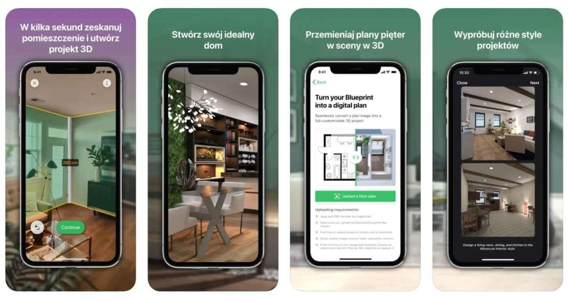 Zrzuty ekranów z aplikacji mobilnej Planner 5D