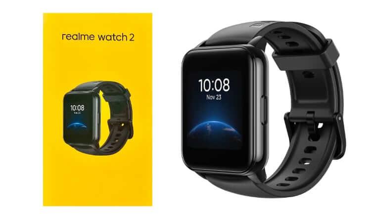 Zegarek realme watch 2 i żółte pudełko