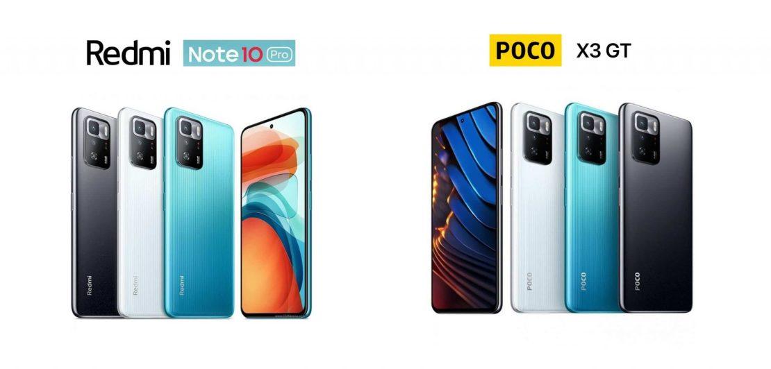 Redmi Note 10 Pro (wariant chiński po lewej — POCO X3 GT (po prawej)