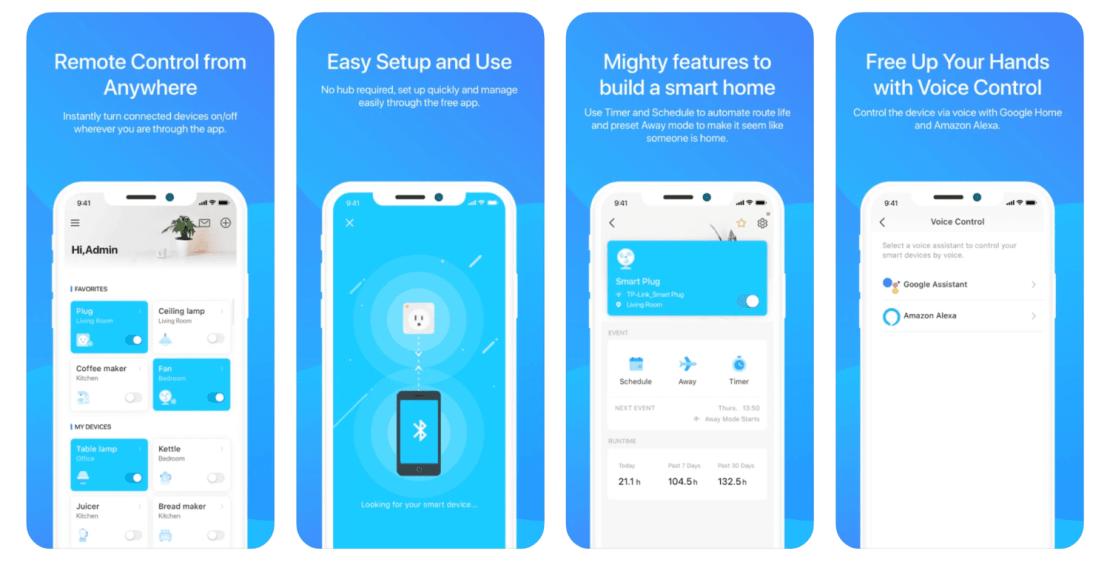Zrzuty ekranów z aplikacji mobilnej TP-Link Tapo