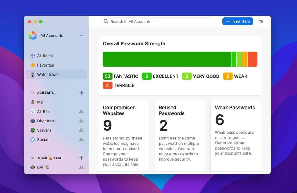 1Password 8.0 (zrzut ekranu z wersji beta)