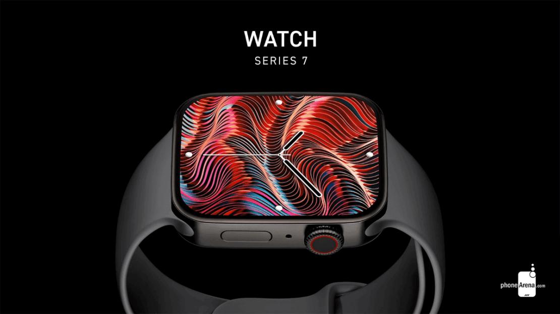 Apple Watch Series 7 - koncepcja z płaskim ekranem (czarny)