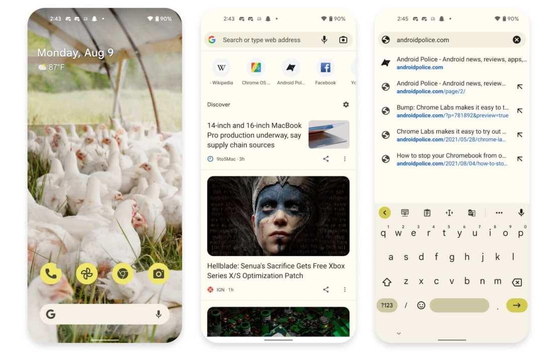 Od lewej: ekran główny, strona główna Chrome; wyszukiwanie na stronie głównej Chrome