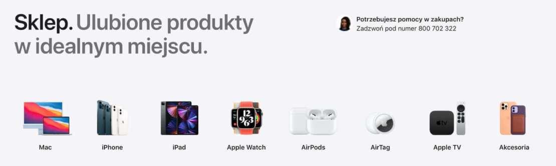 Kategorie produktów w sklepie online Apple Store