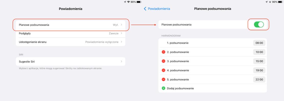 Włączanie planowych podsumowań powiadomień pod systemami iOS 15 i iPadOS 15