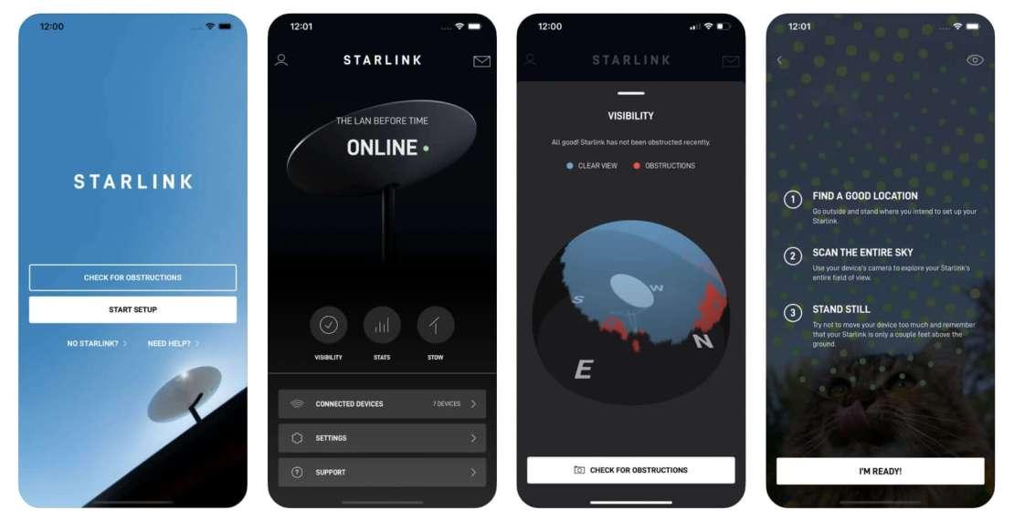 Zrzuty ekranów z aplikacji mobilnej Starlink