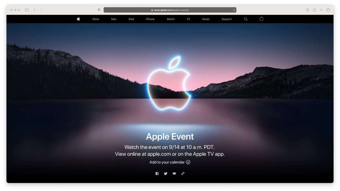Zrzut ekranu ze strony z informacjami na temat Apple Event z 14 września 2021 r.