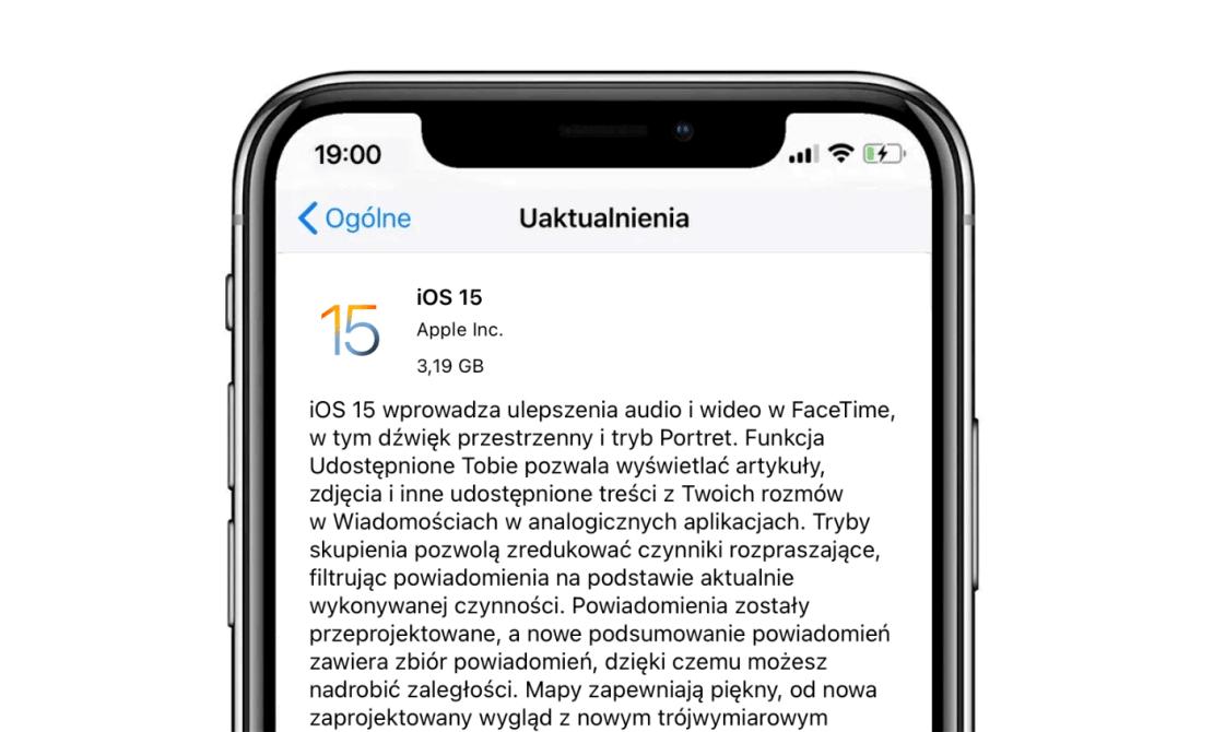 Uaktualnienie systemu iOS 15 (iPhone)