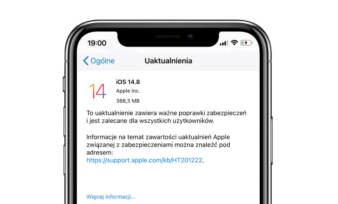Uaktualnienie systemu iOS 14.8 (OTA) iPhone