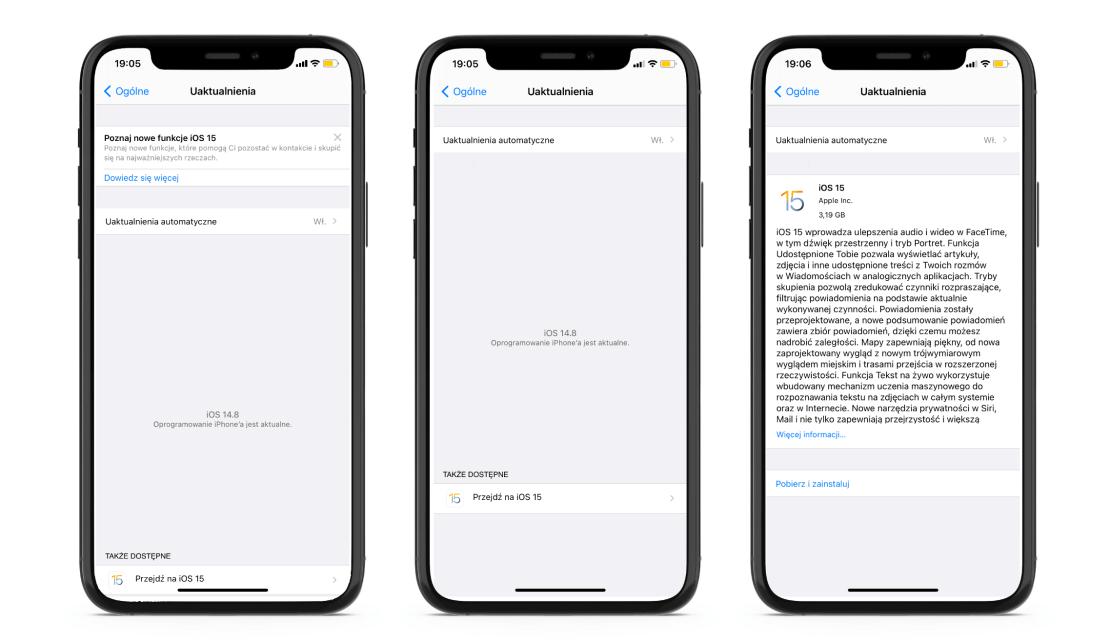 Nowy sposób wyświetlania dostępnego uaktualnienia systemu iOS