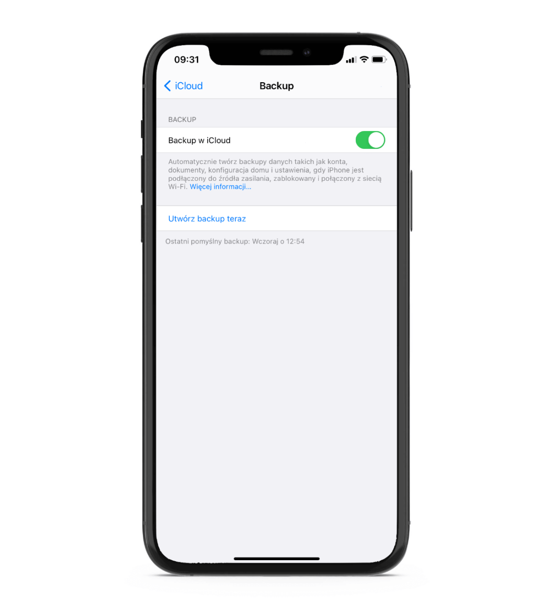 Tworzenie backupu iPhone'a w iCloud