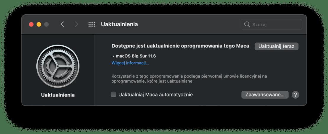 Uaktualnienie macOS Big Sur 11.6 (OTA)