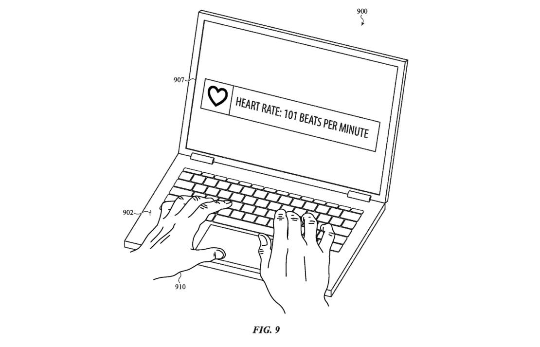 Patent bioczujnika w MacBook Pro (patent US, 2021)