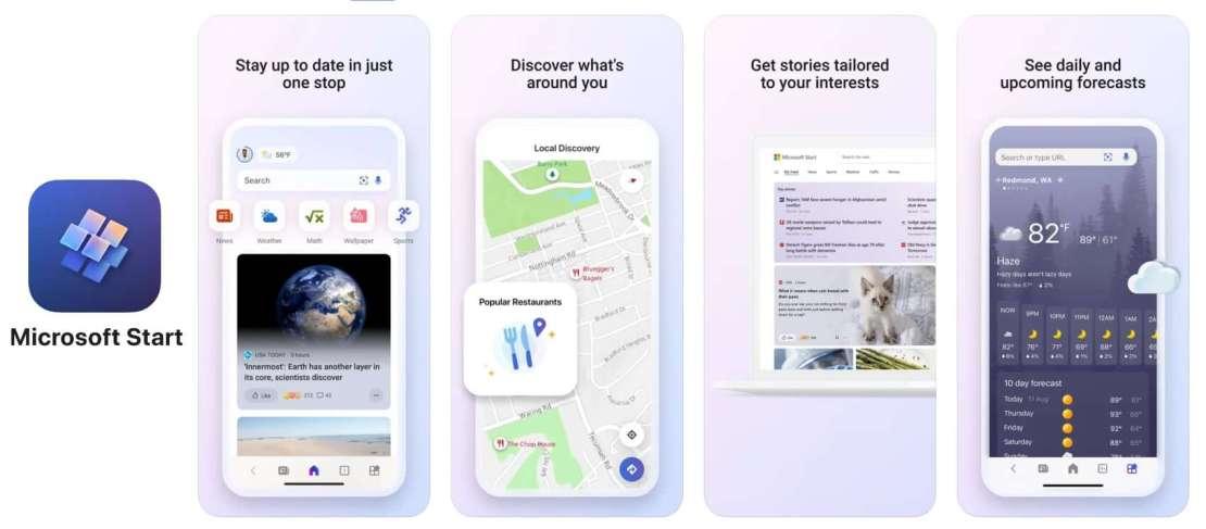Zrzuty ekranów aplikacji mobilnej Microsoft Start na iPhone'a