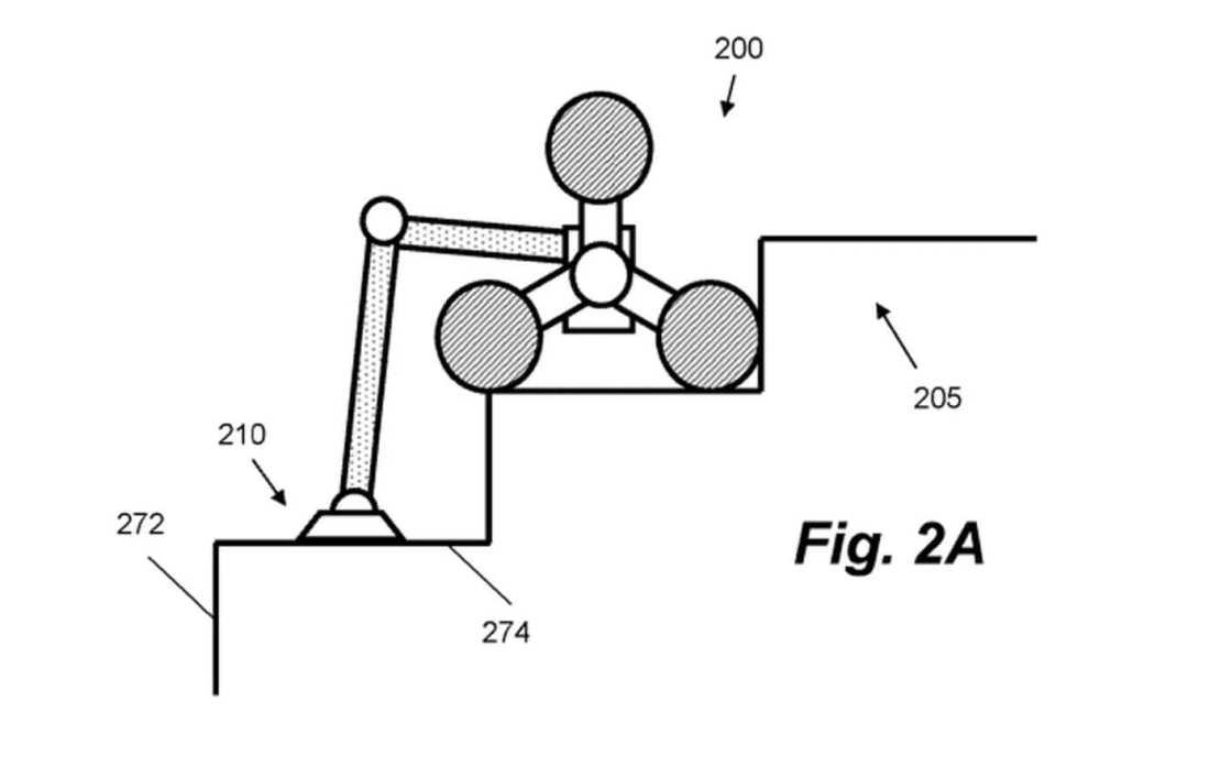 Zgłoszenie patentowe firmy Dyson przedstawiające robota, który potrafi wspinać się i czyścić schody.