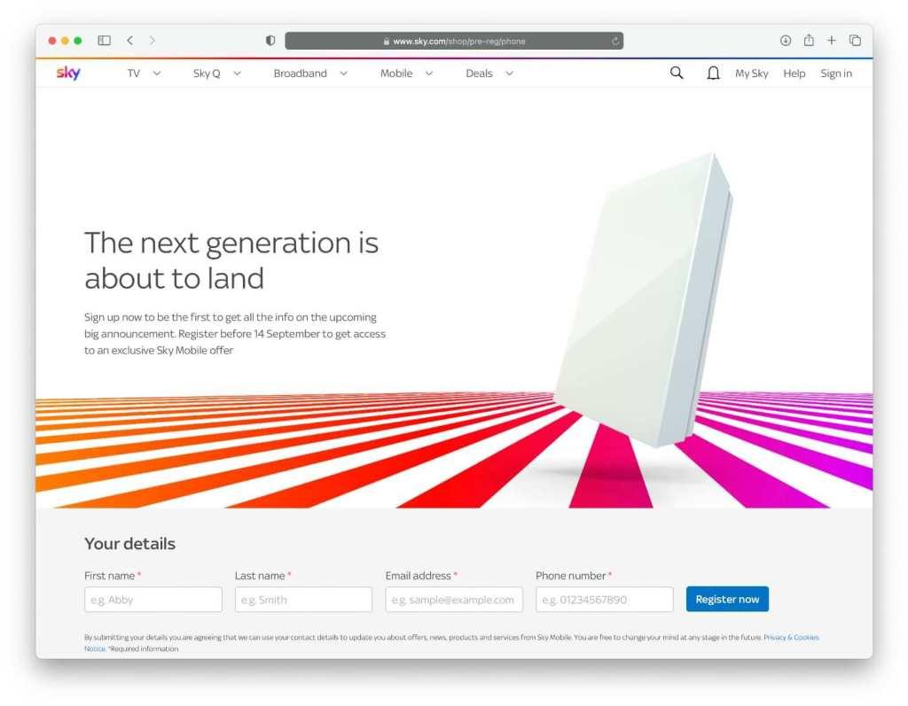 Zrzut ekranu ze strony Sky Mobile: The next generation is about to land
