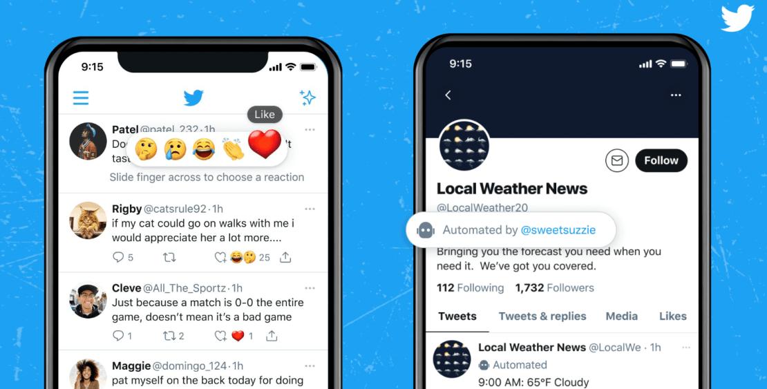 Przykład tego, jak wyglądają reakcje oraz etykieta konta automatycznego na Twitterze