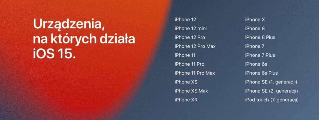 Urządzenia, na których działa iOS 15