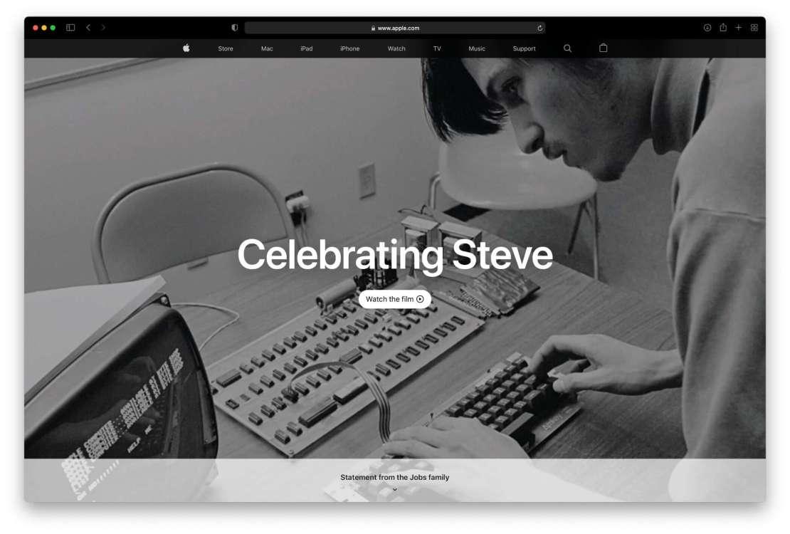 Celebrating Steve apple.com (2021)
