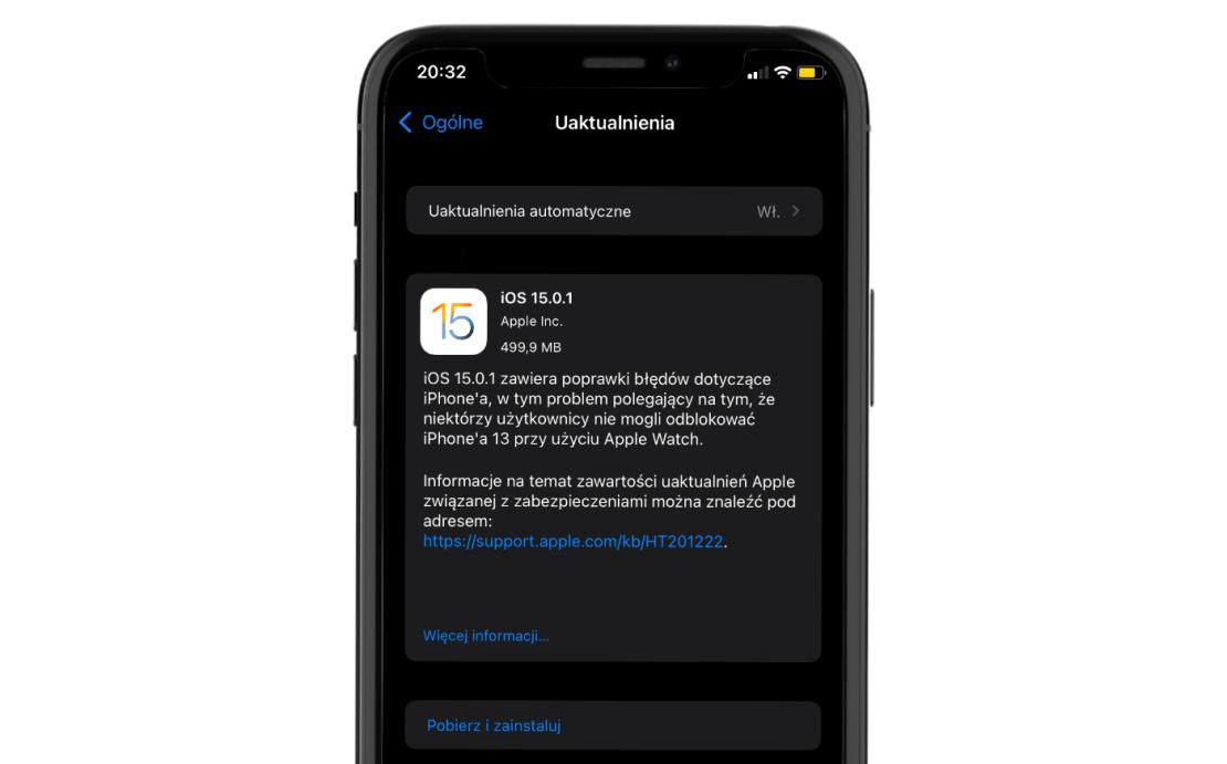 Uaktualnienie iOS 15.0.1 na iPhonie (tryb OTA)