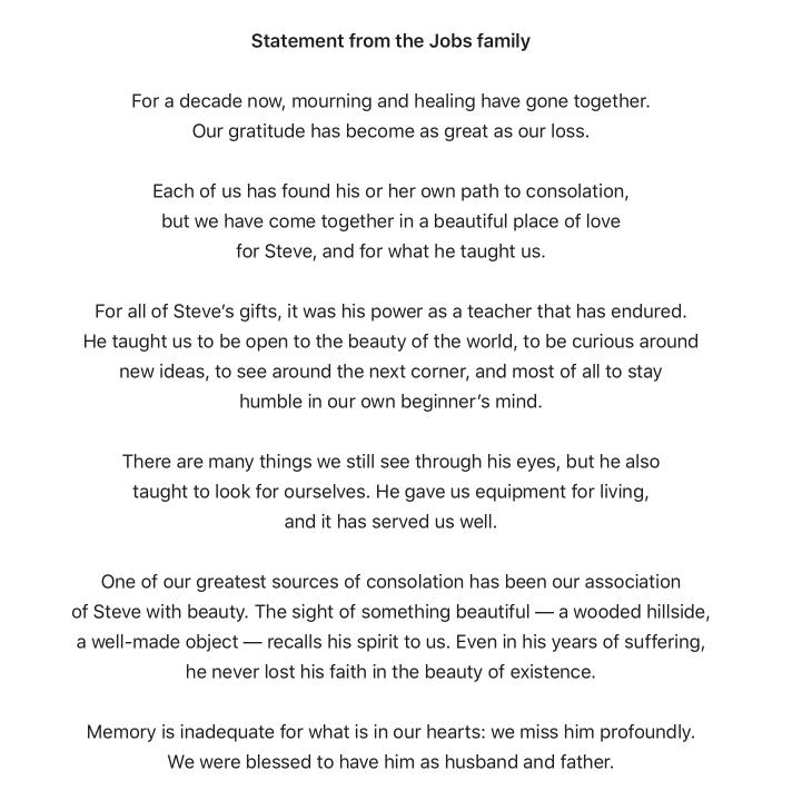 Oświadczenie rodziny Jobsów, z okazji 10. rocznicy śmierci Steve'a Jobsa (opublikowane na apple.com)