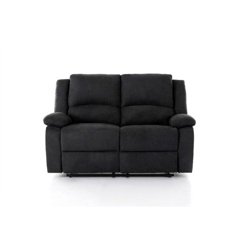 canape de relaxation manuel 2 places en microfibre noir pas cher meuble a petit prix
