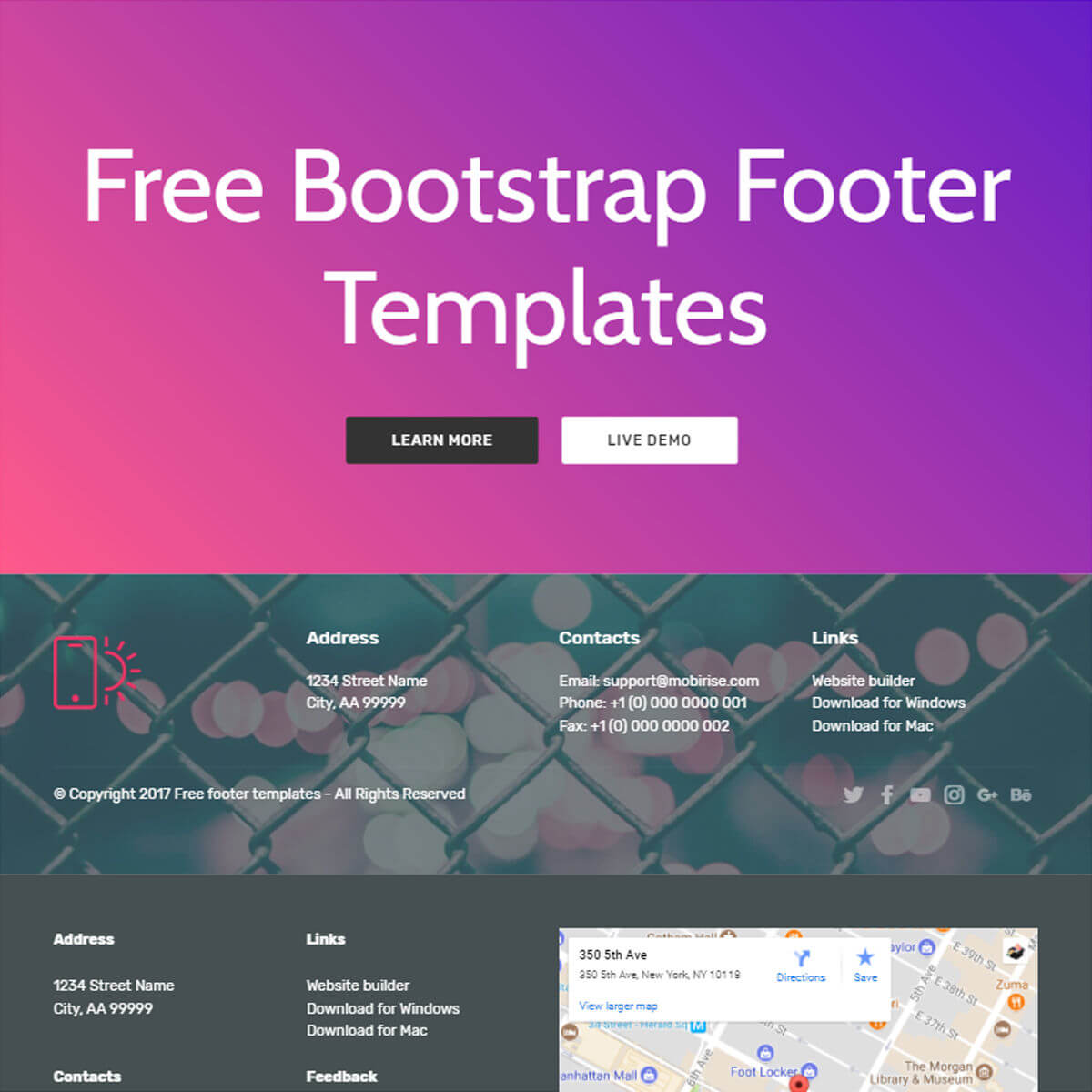 Free HTML Bootstrap Documentation Template Bootstrap Footer Template     Free Download