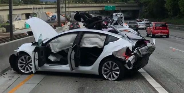 Tesla Model 3 got wrecked