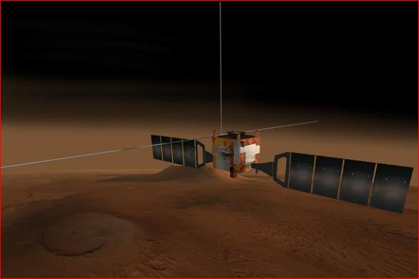 Virtual image of the Mars Express spacecraft of the European Space Agency (ESA)
