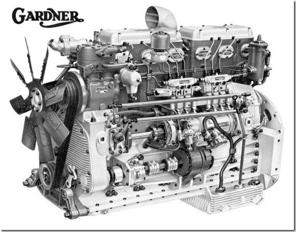 Gardner 6LXB B&W Left side illustration