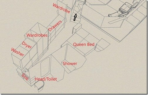 Master Cabin Layout Fwd Port labelled