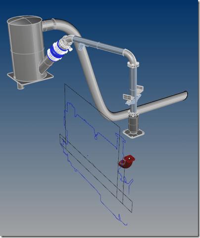 Halyard exhaust system rendering